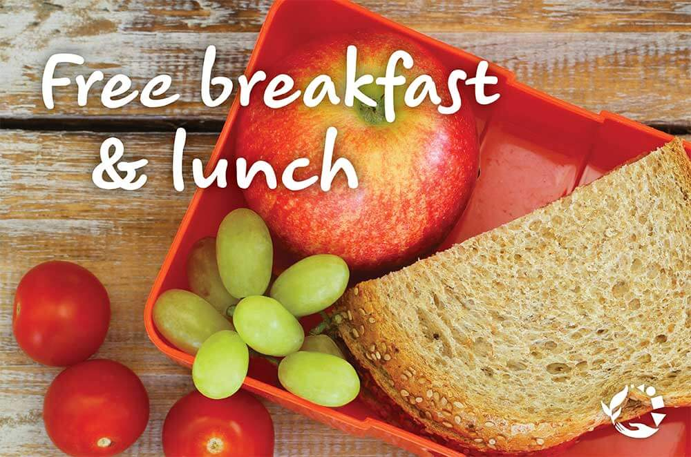 Free breakfast & lunch - lunch container of an apple, grapes, tomatoes, and a sandwich on a table